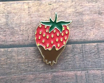 Chocolate Strawberry Pin -  Fruit Enamel / Lapel Pin, Brooch, Badge | Stocking Filler Gift | Lapel Pin, Badge |
