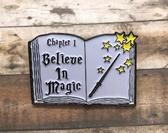 Believe in Magic Spellbook Enamel Pin | Magician Wizard Fantasy || Stocking Filler Gift | Lapel Pin, Badge |