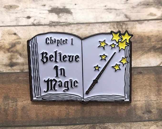 Featured listing image: Believe in Magic Spellbook Enamel Pin | Magician Wizard Fantasy || Stocking Filler Gift | Lapel Pin, Badge |