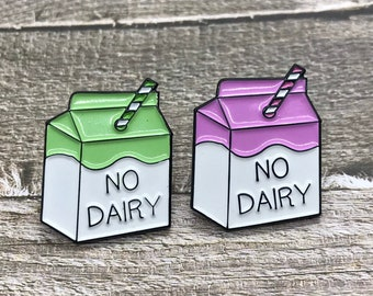 No Dairy Milk Carton Enamel Pin| Stocking Filler Gift | Lapel Pin, Badge |
