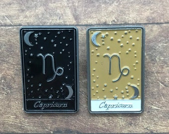 Capricorn | Tarot Horoscope Cards | Colours And Black and White | Star Sign, Moon, Stars | Stocking Filler Gift | Lapel Pin, Badge |