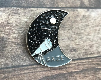 Star Gazing Enamel Pin | Stars, Telescope, Moon | Astrology Badge|  Gift | Lapel Pin, Badge |