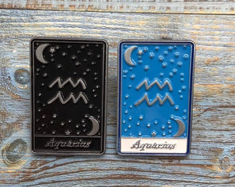Aquarius | Tarot Horoscope Cards | Colours And Black and White | Star Sign, Moon, Stars | Stocking Filler Gift | Lapel Pin, Badge |