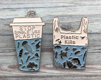 Charity Pin | Set of 2 Pins | Stop Single Use Plastic + Plastic Kills Enamel Pin | Environment Marine, Sea Life| Stocking Filler Gift