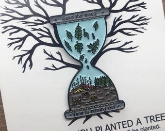 One Pin Sold = One Tree Planted | Save The Trees Enamel Pin | Stocking Filler Gift | Lapel Pin, Badge |