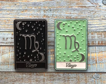 Virgo | Tarot Horoscope Cards | Colours And Black and White | Star Sign, Moon, Stars | Stocking Filler Gift | Lapel Pin, Badge |