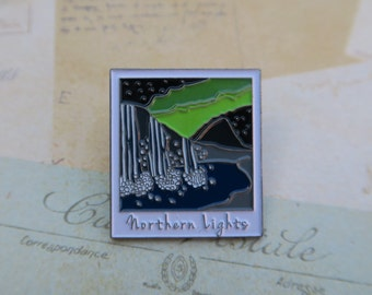 Polaroid Enamel Pin | Northern Lights, Iceland (Glow in Dark Sky) Travel | Wanderlust Waterfall Lapel Pin