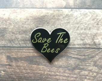 Save The Bees Love Heart Enamel Pin | Environment Pin Badge