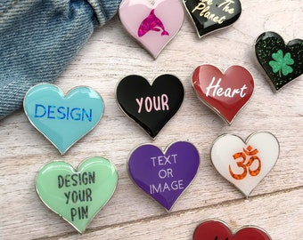 Personalised Bespoke Love Heart Enamel Pin | Customised Pin Badge | Resined