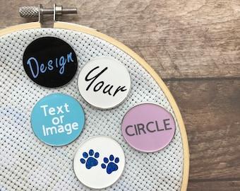 Personalised Pick Your Text/Shape Circle Enamel Needle Minder Customised |