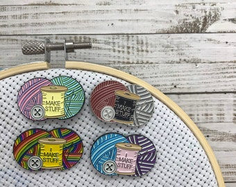 I Make Stuff Needle Minder | Sewing, Knitting, Craft | Five Variations | Or Fridge Magnet |  Gift | Lapel Pin, Badge |