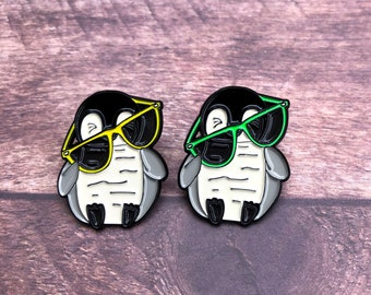 Penguin with Glasses Enamel Pin | Badge