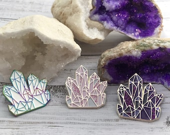 Crystals Set of 3 Enamel Pin | Lapel Pin, Badge |