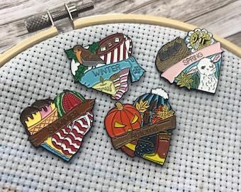 Seasons Needle Minder Or Magnet | Spring, Summer, Autumn/Fall, Winter || Stocking Filler Gift | Lapel Pin, Badge |