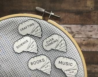 Brain Needle Minder | Overthinking, Hobby vs. Everything Else | Five Variations | Stocking Filler Gift | Lapel Pin, Badge |