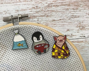 Pig, Fish Or Penguin Needle Minder | Sewing, Knitting, Craft | Five Variations | Or Fridge Magnet |  Gift | Lapel Pin, Badge |