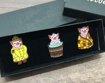 GIFT SET | Set of Three | Baby Pig Enamel Pins | Stocking Filler Gift | Lapel Pin, Badge |