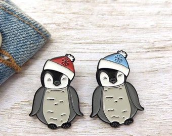 Baby Penguin with Beanie Hat Enamel Pin | Stocking Filler Gift | Lapel Pin, Badge |
