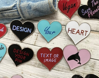 Personalised Bespoke Love Heart Enamel Pin | Customised Pin Badge | Mothers Day Gift
