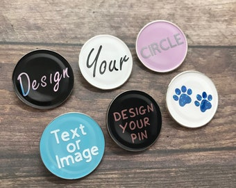 Personalised Pick Your Text/Shape Circle Enamel Pin | Customised Pin Badge | Bespoke, Resined