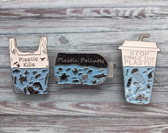 Charity Pin | Set of 3 Pins | Plastic Pollutes + Plastic Kills Enamel Pin | Environment Marine, Sea Life | Stocking Filler Gift | Lapel Pin