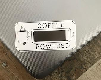 Eco-Friendly Coffee Powered Sticker | Coffee Lover | Laptop Sticker
