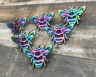 Rainbow Metal Bumble Bee Enamel Pin | Bee Badge Multi Chrome