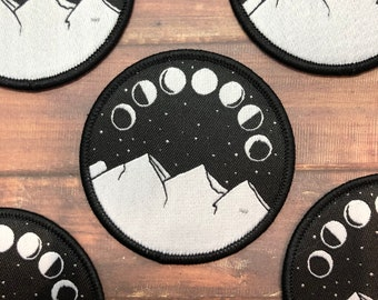 Moon Phases Patch | Mountains and Moon | Iron on, Sew On | Patch |