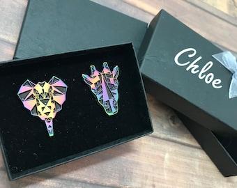 GIFT SET | Set of Two |Rainbow Metal Giraffe and Elephant Enamel Pin | Stocking Filler Gift | Lapel Pin, Badge |