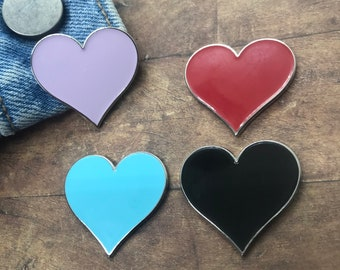 Love Heart Enamel Pin - Got some words you'd like on them? Personalisation coming soon