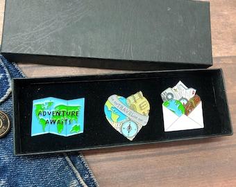 GIFT SET   Set of Three  Travel Lover Wanderlust Enamel Pin   Gift   Lapel Pin, Badge  