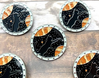 Space Cat Enamel Pin | Outer Space | Galaxy, Planets, Stars | Space Explorer | Lapel Pin, Badge | Orange