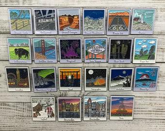 All Polaroid Locactions | Set of 3-22 | 11 Different Locations |  Polaroid Enamel Pins | Wanderlust| Stocking Filler Gift | Lapel Pin