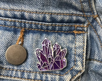 Amethyst Crystal Enamel Pin | Science Lapel Pin, Badge |