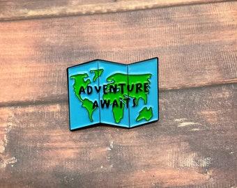 Adventure Awaits Map Enamel Pin | Wanderlust, Backpacking |  Gift | Lapel Pin, Badge |
