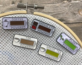 Powered By Needle Minder | Sewing, Knitting, Craft | Five Variations | Or Fridge Magnet| Stocking Filler Gift | Lapel Pin, Badge |