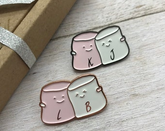 Marshmallow Friends Customisable Enamel Pin | Personalised Pin Badge