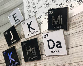 Personalised Periodic Table Element Enamel Pin | Customised
