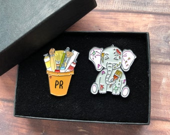 GIFT SET | Set of Two | Customisable Art Pot and Elephant Enamel Pin | Gift | Lapel Pin, Badge |