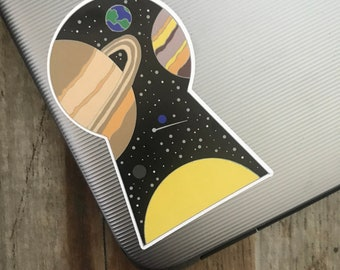 Eco-Friendly Space Keyhole Sticker | Astrology | Laptop Sticker