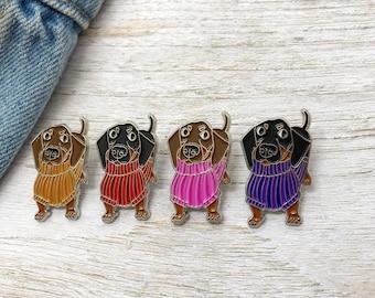 Sausage Dog in Sweater Jumper Enamel Pin | Dachshund | Stocking Filler Gift | Lapel Pin, Badge |
