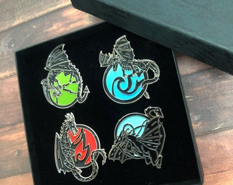 GIFT SET | Dragon Elements Inspired Enamel Pin | Earth, Fire, Water, Air | Individual or Set |