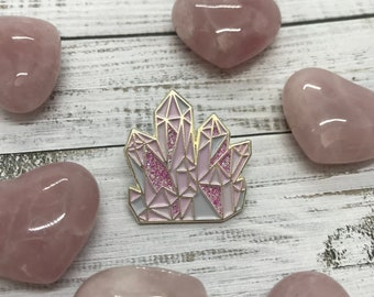Rose Quartz Crystal Enamel Pin | Science Lapel Pin, Badge |