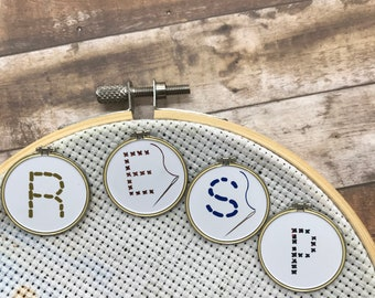 Cross Stitch / Embroidery Hoop Personalised Needle Minder | Initial