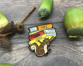 Squirrel Hoarder Books Enamel Pin | Badge