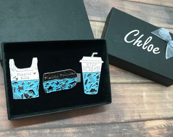 GIFT SET   Set of Three   Plastic Pollution Themed Enamel Pin   Stocking Filler Gift   Lapel Pin, Badge  