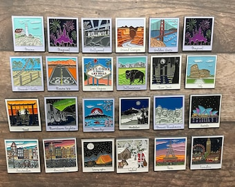 All Photograph Locactions | 22 Different Locations |  Enamel Pins | Wanderlust| Stocking Filler Gift | Lapel PinPicture Frame