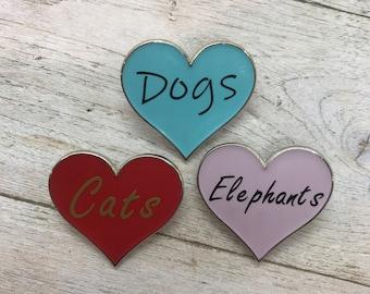 Personalised Animal Love Heart Enamel Pin   Customised Pin Badge