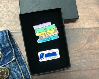 GIFT SET   Set of Two   Book Stack and Book Powered Enamel Pin   Gift   Lapel Pin, Badge  