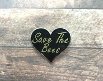 Save The Bees Love Heart Enamel Pin   Environment Pin Badge